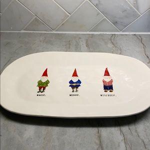 Rae Dunn Christmas gnome platter NWT